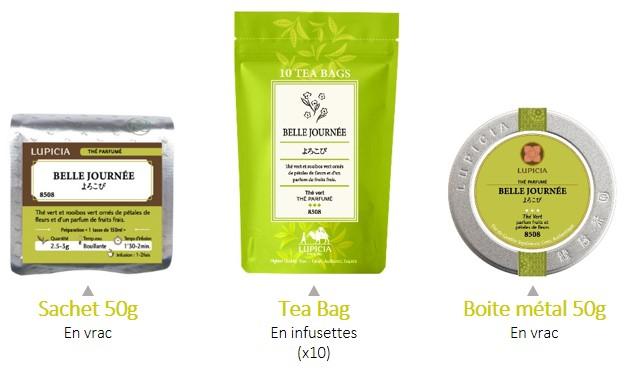 Les conditionnements des thés Lupicia